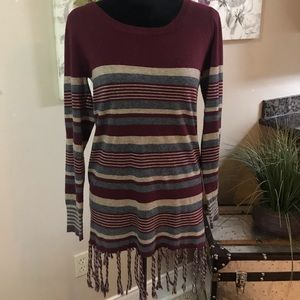 Striped sweater with fringes